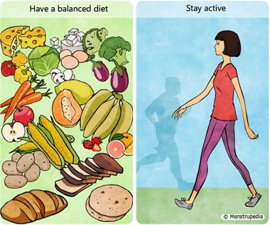 Illustration of balanced diet containing vegetables, dairy products, fruits and cereals, Taking a walk to stay active - Menstrupedia