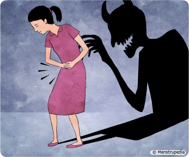 Illustration of a menstruating woman experiencing pain due to cramps while in the shadow she looks like a demon to depict the menstrual myth that menstruating women are cursed - Menstrupedia