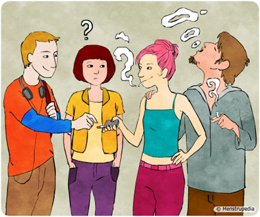 illustration of peer pressure, a peer group of adolescent girls and boys smoking and exchanging cigarettes - Menstrupedia