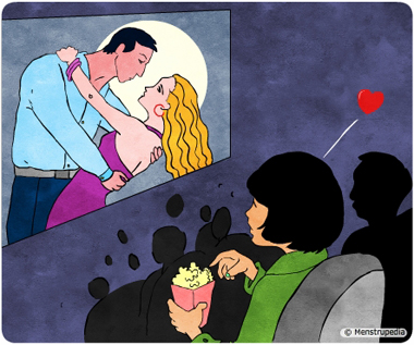 Illustration of a girl getting sexual feelings while watching a romantic scene in a movie theatre - Menstrupedia
