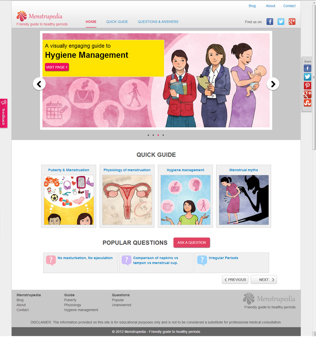 Menstrupedia slide show, quick guide, screen shot of menstrupedia home page